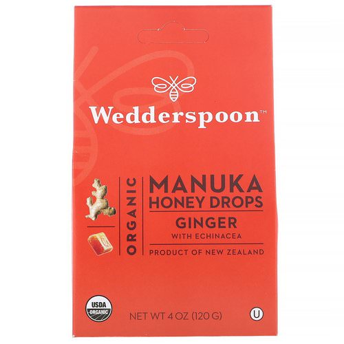Wedderspoon, Organic Manuka Honey Drops, Ginger with Echinacea, 4 oz (120 g) Review