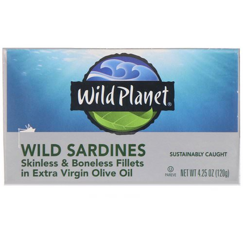 Wild Planet, Wild Sardines Skinless & Boneless Fillets In Extra Virgin Olive Oil, 4.25 oz (120 g) Review