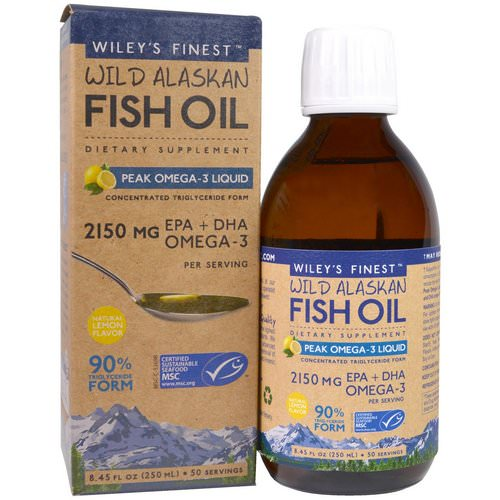 Wiley's Finest, Wild Alaskan Fish Oil, Peak Omega-3 Liquid, Natural Lemon Flavor, 2150 mg, 8.45 fl oz (250 ml) Review