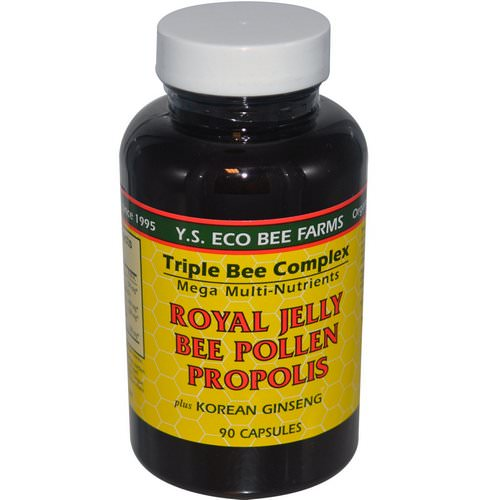 Y.S. Eco Bee Farms, Royal Jelly, Bee Pollen, Propolis, Plus Korean Ginseng, 90 Capsules Review