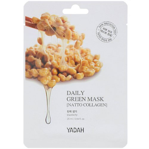Yadah, Daily Green Mask, Natto Collagen, 1 Sheet, 0.84 fl oz (25 ml) Review