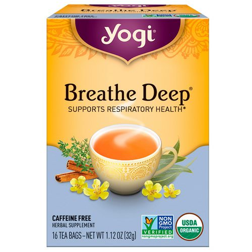 Yogi Tea, Organic, Breathe Deep, Caffeine Free, 16 Tea Bags, 1.12 oz (32 g) Review