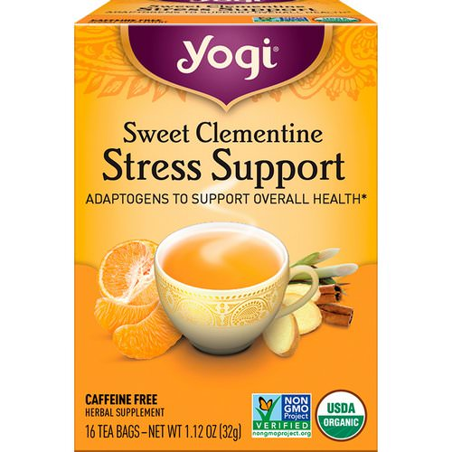 Yogi Tea, Stress Support, Sweet Clementine, Caffeine Free, 16 Tea Bags, 1.12 oz (32 g) Review