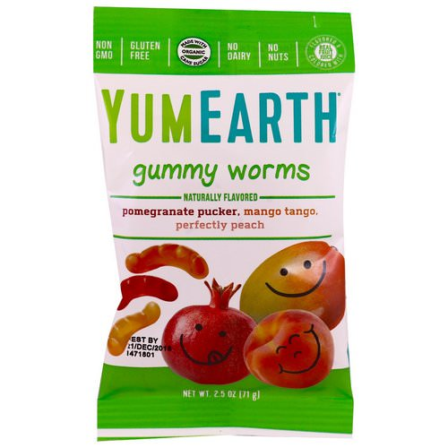 YumEarth, Gummy Worms, Assorted Flavors, 12 Packs, 2.5 oz (71 g) Each Review