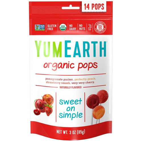 YumEarth, Organic Pops, Assorted Flavors, 14 Pops, 3 oz (85 g) Review