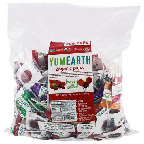 YumEarth, Organic Pops, Assorted Fruits Flavors, 300 Pops, 5 lbs (2268 g) Review