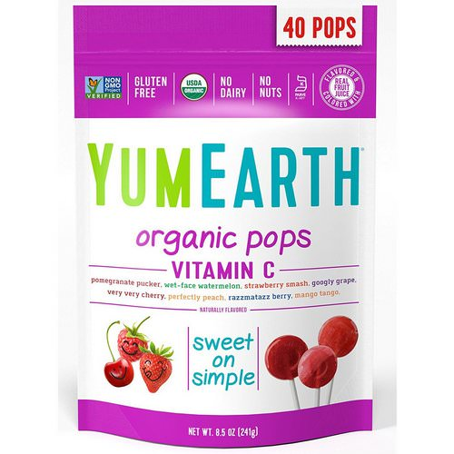 YumEarth, Organic Pops, Vitamin C, Assorted Flavors, 40 Pops, 8.5 oz (241 g) Review