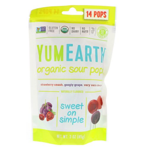 YumEarth, Organics, Sour Pops, Assorted Flavors, 14 Pops, 3 oz (85 g) Review
