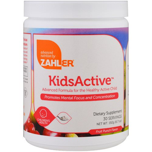 Zahler, Kids Active, Advanced Formula for the Healthy Active Child, Fruit Punch, 6.7 oz (192 g) Review
