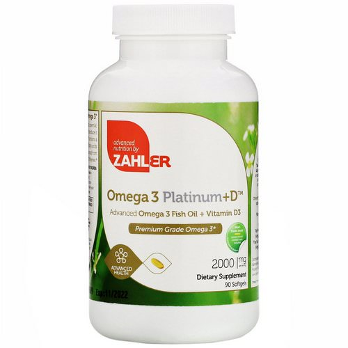 Zahler, Omega 3 Platinum+D, Advanced Omega 3 with Vitamin D3, 2,000 mg, 90 Softgels Review