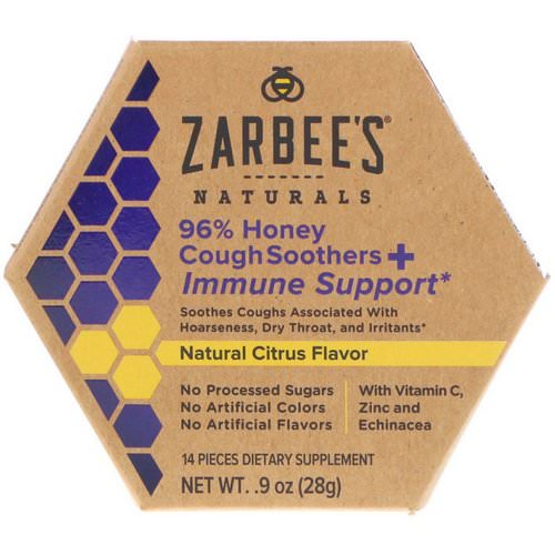 Zarbee's, 96% Honey Cough Soothers + Immune Support, Natural Citrus Flavor, 14 Pieces Review