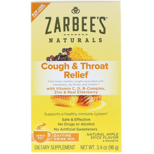 Zarbee's, Cough & Throat Relief, Daytime Drink Mix, Natural Apple Spice Flavor, 6 Packets, 3.4 oz (96 g) Review