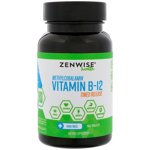 Zenwise Health, Methylcobalamin, Vitamin B-12, Timed Release, 1000 mcg, 160 Tablets Review