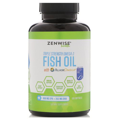 Zenwise Health, Triple Strength Omega-3 Fish Oil with AlaskOmega, 120 Softgels Review