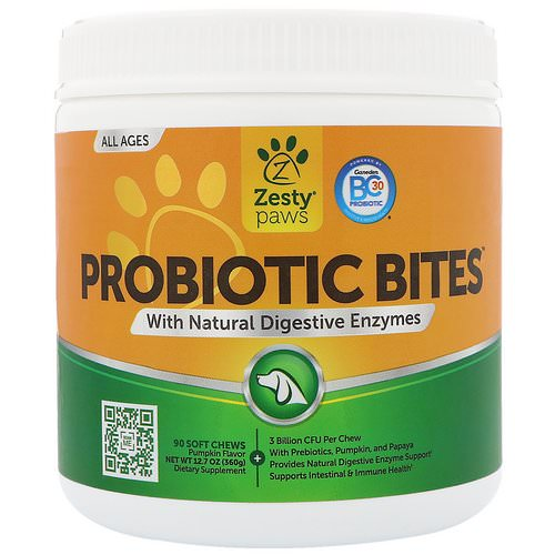 Zesty Paws, Probiotic Bites for Dogs, with Natural Digestive Enzymes, All Ages, Pumpkin Flavor, 90 Soft Chews Review