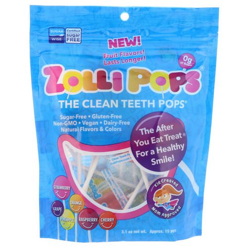 Zollipops, The Clean Teeth Pops, Strawberry, Orange, Raspberry, Cherry, Grape, Pineapple, Approx. 15 Pops, 3.1 oz Review