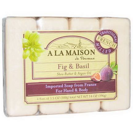 A La Maison de Provence, Hand&Body Bar Soap, Fig&Basil, 4 Bars, 3.5 oz Each