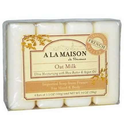 A La Maison de Provence, Hand&Body Bar Soap, Oat Milk, 4 Bars 100g Each
