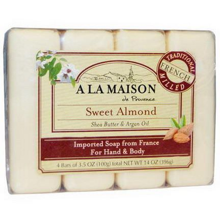 A La Maison de Provence, Hand&Body Bar Soap, Sweet Almond, 4 Bars, 3.5 oz Each