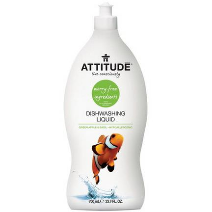 ATTITUDE, Dishwashing Liquid, Green Apple&Basil 700ml