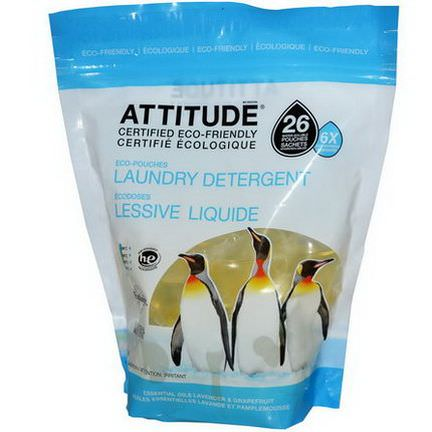 ATTITUDE, Eco-Pouches Concentrated Laundry Detergent, Essential Oils Lavender&Grapefruit, 26 Pouches 390g