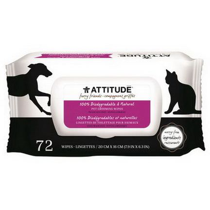 ATTITUDE, Furry Friends, 100% Biodegradable&Natural Pet Grooming Wipes, Fragrance-Free, 72 Wipes