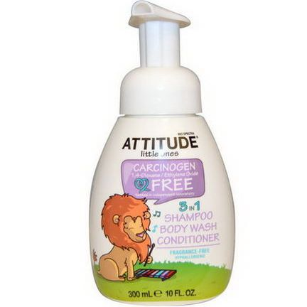 ATTITUDE, Little Ones, 3 in 1 Shampoo, Body Wash, Conditioner, Fragrance Free 300ml