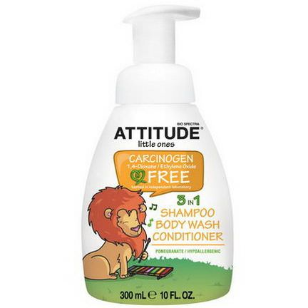 ATTITUDE, Little Ones, 3 in 1 Shampoo, Body Wash, Conditioner, Pomegranate 300ml