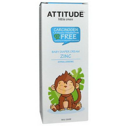 ATTITUDE, Little Ones, Baby Diaper Cream Zinc, Fragrance Free 75g