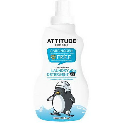 ATTITUDE, Little Ones, Concentrated Laundry Detergent, Fragrance-Free, 70 Loads 1.05 L