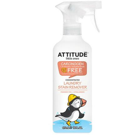 ATTITUDE, Little Ones, Laundry Stain Remover Spray, Concentrated, Fragrance-Free 475ml