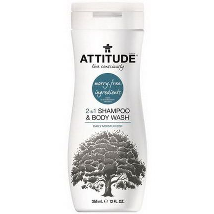 ATTITUDE, 2 in 1 Shampoo&Body Wash, Daily Moisturizer 355ml