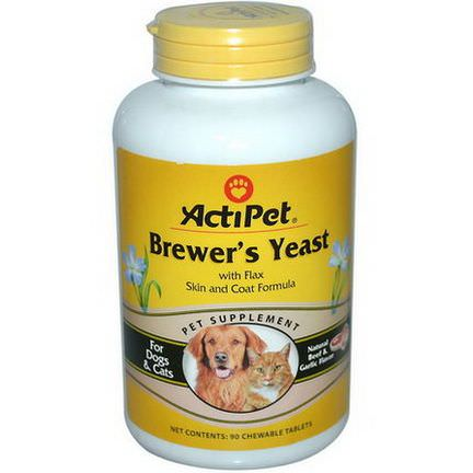 Actipet, Brewer's Yeast, For Dogs&Cats, Natural Beef&Garlic Flavor, 90 Chewable Tablets