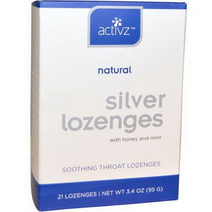 Activz, Silver Lozenges with Honey and Mint, 21 Lozenges 95g