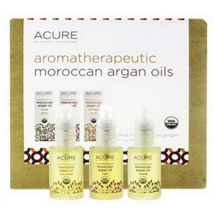 Acure Organics, Aromatherapeutic Moroccan Argan Oils Trio Set, Coconut, Rose, Citrus Ginger 30ml Each