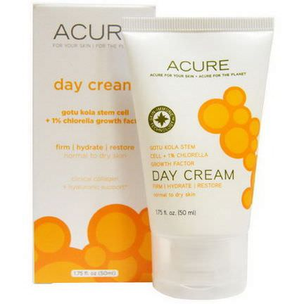 Acure Organics, Day Cream, Gotu Kola Stem Cell 1% Chlorella Growth Factor 50ml