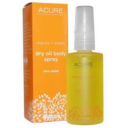Acure Organics, Dry Oil Body Spray, Citrus Ginger 59ml