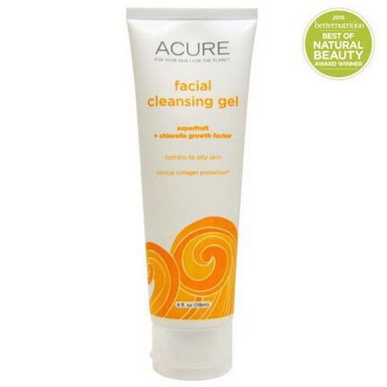 Acure Organics, Facial Cleansing Gel, SuperFruit Chlorella Growth Factor 118ml