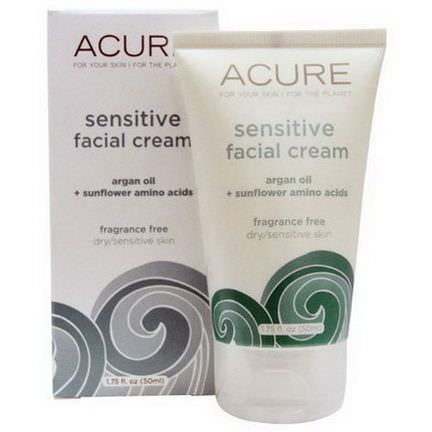 Acure Organics, Sensitive Facial Cream, Argan Oil Sunflower Amino Acids, Fragrance Free 50ml