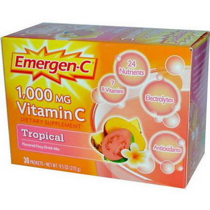 Alacer, Emergen-C, 1,000mg Vitamin C, Tropical, 30 Packets, 9.0g Each
