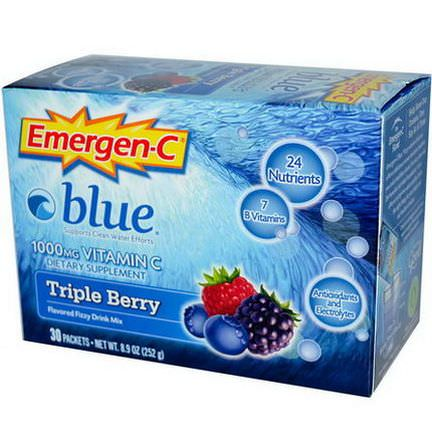 Alacer, Emergen-C, Blue, 1000mg Vitamin C, Triple Berry, 30 Packets, 8.4g Each