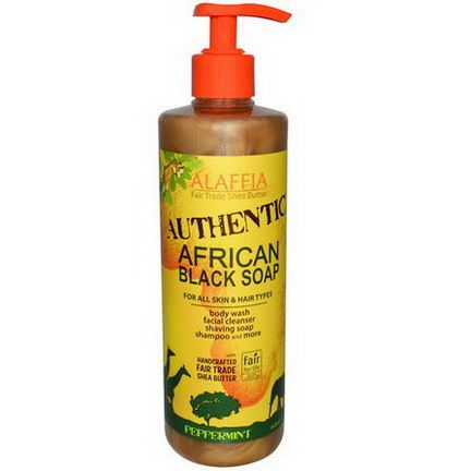 Alaffia, Authentic African Black Soap, Peppermint 475ml