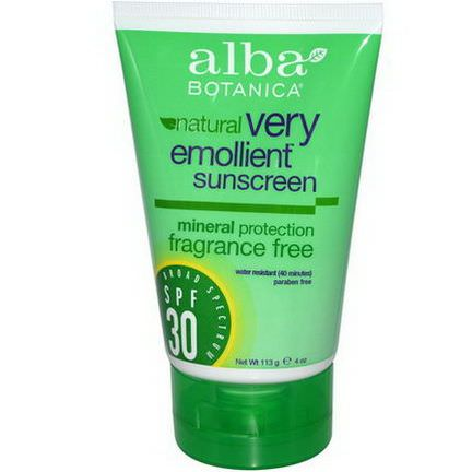 Alba Botanica, Natural, Very Emollient Sunscreen, Fragrance Free, SPF 30 113g
