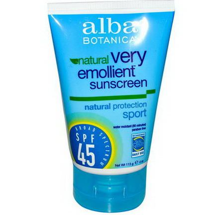 Alba Botanica, Natural Very Emollient Sunscreen, Sport, SPF 45 113g