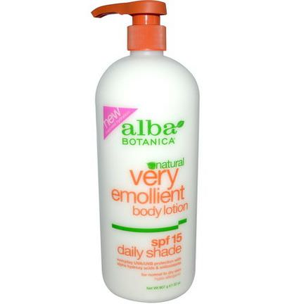 Alba Botanica, Very Emollient Body Lotion, Daily Shade, SPF 15 907g