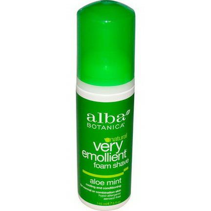 Alba Botanica, Very Emollient Natural Foam Shave, Aloe Mint 145ml