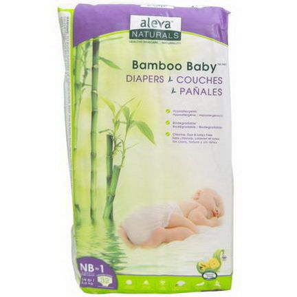 Aleva Naturals, Bamboo Baby Diapers, NB to 1 2-4 kg, 32 Count
