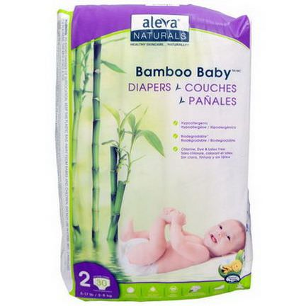 Aleva Naturals, Bamboo Baby Diapers, Size 2 3.8 kg, 30 Disposable Diapers