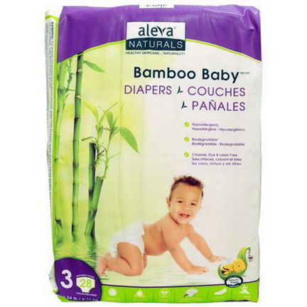 Aleva Naturals, Bamboo Baby Diapers, Size 3 6-11 kg, 28 Disposable Diapers