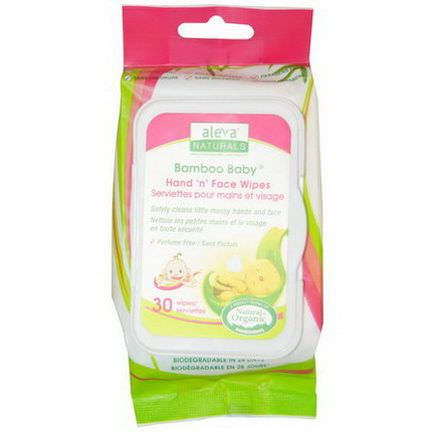 Aleva Naturals, Bamboo Baby, Hand'n'Face Wipes, 30 Wipes 15 x 20 cm